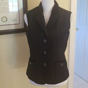 Talbots black quilted vest size S petite